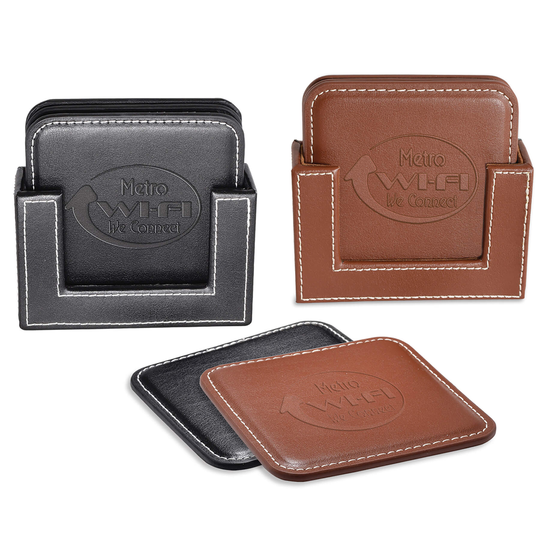 Item: 8054 - Vintage Leather 4-Square Coaster Set