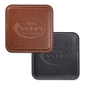 Item: 8053 - Vintage  Leather 4-Square Coaster